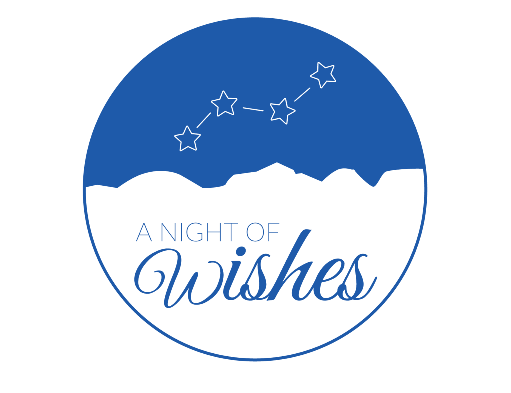 A Night of Wishes blue logo with star constellation over the hill country.
